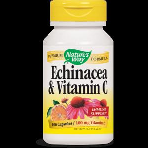 Ехинацея & Витамин С 461 mg х 100 капс. (Простудни и грипни състояния) - 461 mg. Ехинацея пурпурея оргáник (стъбло, лист, цвят) 361 mg, витамин С 100 mg.