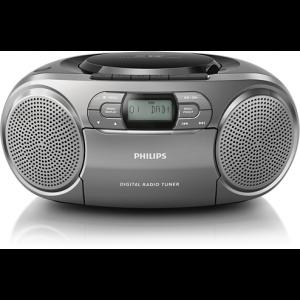 Philips CD радиокасетофон, Digital Audio Broadcasting, Dianamic Bass Boost, цвят сребрист