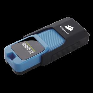 Флаш памет Corsair Voyager Slider X2 USB 3.0 128GB, Capless Design, Blue Housing, Read 310MBs, Write 90MBs, Plug and Play