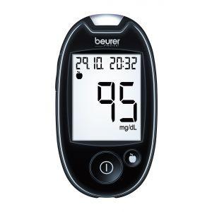 Beurer Комплект апарат за измерване на кръвна захар + 5 игли + 5 тест ленти + калъф + дневник за данни - XXL дисплей, USB, Beurer HealthManager App 480 позиции на запаметяване