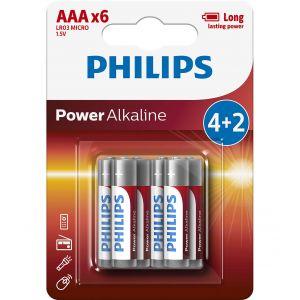 Philips Power Alkaline батерия LR03 AAA, 4+2-blister PROMO