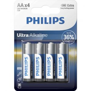 Philips Ultra Alkaline батерия LR6 AA, 4-blister