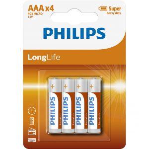 Philips Longlife батерия R03 AAA (E), 4-blister