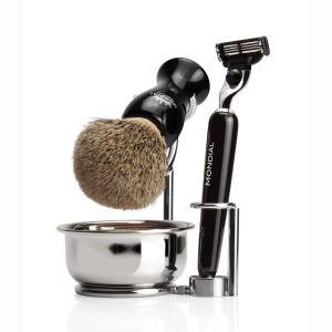 Наклонена метална поставка за четка за бръснене и бръснач с купа