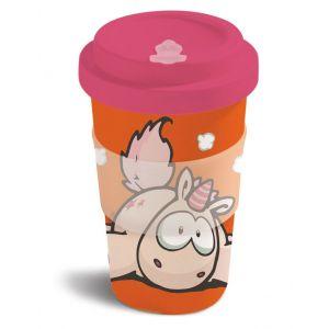 Бамбукова чаша с капак Еднорогът Theodor, оранжево-червена