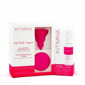 Комплект Lily Cup Compact B Сгъваема  менструална чашка и Спрей за почистване Intimina