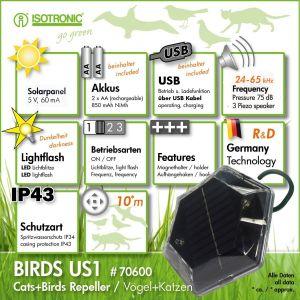 Isotronic US 1 BIRDS Cоларен уред против птици Котешко око за 100 кв.м