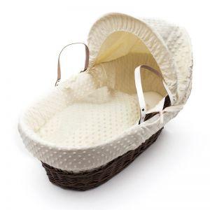 Плетено бебешко кошче със сенник - кремаво